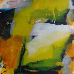 Im Zentrum des Geschehens2016 Acryl, Collage, Kohle, Graphit auf Leinwand, 100 x 180 cm